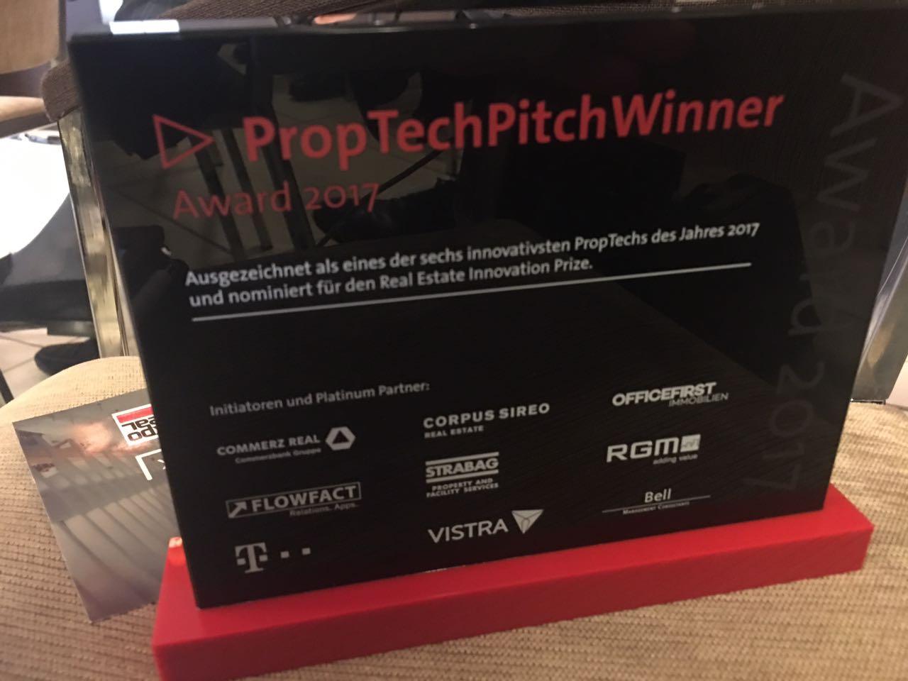 PropTech Pitch 2017: DOOZER als eines der sechs innovativsten PropTechs Europas ausgezeichnet