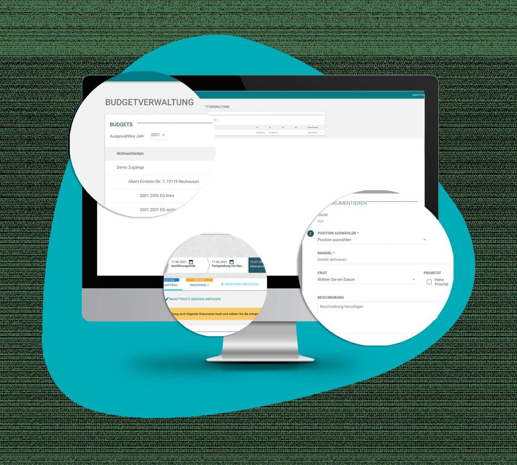 Bildschirm mit Doozer Feature Baudokumentation und Management