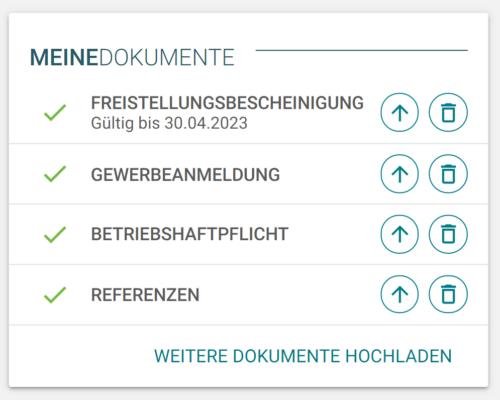 Screenshot Doozer Plattform Handwerker Dokumente
