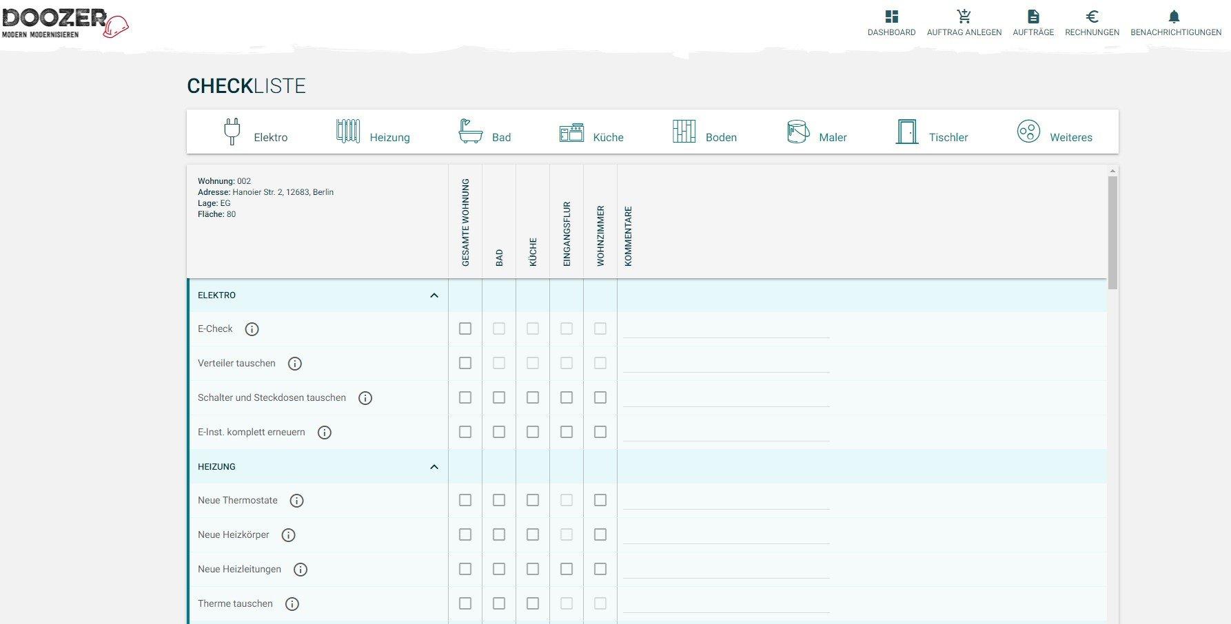 Die Checkliste ermöglicht Ihnen die einfachste Auswahl von Leistungspaketen – ein Mausklick genügt!